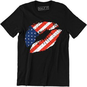 American Flag Lips 4th of July Patriotic USA Shirt